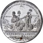 1783 Treaty of Versailles, Peace of Paris Medal. White Metal with Copper Plug. 43 mm. By J. Reich. B