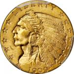 1909 Indian Quarter Eagle. MS-64 (PCGS).