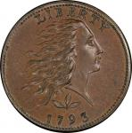 1793 Flowing Hair Cent. Sheldon-5. Rarity-4. Wreath. Vine and Bars Edge. Mint State-66 BN (PCGS).