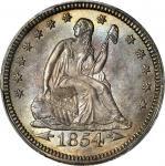 1854 Liberty Seated Quarter. Arrows. MS-66 (PCGS).