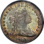 1797 Draped Bust Silver Dollar. B-2, BB-72. Rarity-4. Stars 9x7, Small Letters. EF-40 (PCGS).