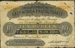 East African Protectorate, 10 rupees, Mombasa, 1 September 1905, red serial number A/1 22257, black