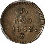 COLOMBIA.Popayán provisional. 1813 1/2 Real. Popayán mint. Restrepo 110.1. Copper. AU-53 (PCGS).