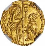 ITALY. Venice. Ducat, ND. Antonio Venier (1382-1400). NGC MS-64.