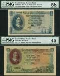 South African Reserve Bank, £1, 8 February 1956, prefix B/230, and £5, 11 March 1959, prefix C/71, b