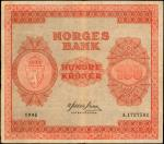 NORWAY. Norges Bank. 100 Kroner, 1945. P-28a. Fine.