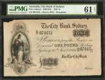AUSTRALIA. City Bank of Sydney. 1 Pound, 1866. P-Unlisted. Remainder. PMG Uncirculated 61 Net. Edge