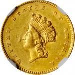 1854 Gold Dollar. Type II. AU-58 (NGC).