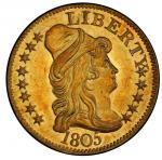1805 Capped Bust Right Half Eagle. Bass Dannreuther-2. Rarity-4. Mint State-65 (PCGS).