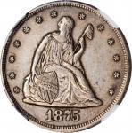 1875-CC Twenty-Cent Piece. BF-2. Rarity-1. AU-50 (NGC). CAC.