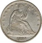 1884 Liberty Seated Half Dollar. WB-102. Repunched Date. VF Details--Cleaned (PCGS).