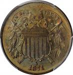 1871 Two-Cent Piece. MS-66 BN (PCGS). CAC.