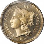 1880 Nickel Three-Cent Piece. Proof-67 Cameo (PCGS). CAC.