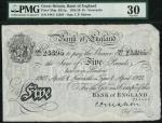 Bank of England, C.P. Mahon, £5, Newcastle 1 April 1927, prefix 348U, black and white, ornate crowne