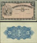 Martinique, Banque de la Martinique, 5 francs, specimen without the serial number or signatures, no
