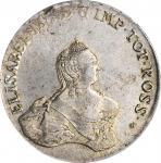 RUSSIA. Livonia & Estonia. 96 Kopeks (Ruble), 1757. Krasny Mint (Moscow). Elizabeth. PCGS MS-62 Gold