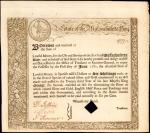 State of the Massachusetts Bay. 1777. 6% Loan due June 1, 1780. Extremely Fine. Remainder.
