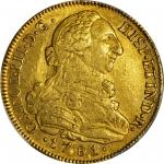 COLOMBIA. 8 Escudos, 1781-P SF. Popayan Mint. Charles III (1759-88). PCGS AU-53 Gold Shield.