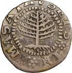 1652 Pine Tree Shilling. Small Planchet. Noe-18, Salmon 4-B, W-845. Rarity-7. VF Details--Excessivel