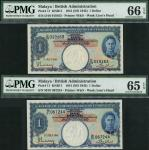 Board of Commissioners of Currency, Malaya, $1 (2), 1 July 1941, serial numbers D/18 019163 and M/91