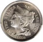 1886 Nickel Three-Cent Piece. Proof-64 (PCGS).