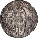 SWEDEN. Ore, 1594. Stockholm Mint. Sigismund (1592-99). NGC AU-53.