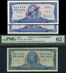 Banco Nacional de Cuba, USA counterfeit 20 Pesos, 1961, serial number F69 135533, blue on pink under