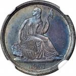 1837 Liberty Seated Dime. No Stars. Fortin-101. Rarity-7. Large Date, Repunched Date. Proof-66 (NGC)