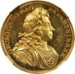 GREAT BRITAIN. Gold King George I Coronation Medal, 1714. NGC MS-61.