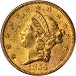 1854 Liberty Head Double Eagle. Large Date. MS-61 (PCGS). CAC.