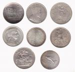 Miscellaneous silver coins (8), Austria, 50-Schillings, 1964, Great Britain, Crown, 1887, Trade Doll