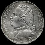 FRANCE Louis XVIII ルイ18世(1814~24) 5Francs 1814K   洗浄 -VF