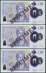 Bank of England, Sarah John, polymer £20, ND (20 February 2020), serial number AA01 000072/73/74, pu