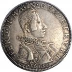 ITALY. Tuscany. Piastre, 1638. Ferdinando II. PCGS Genuine--Edge Repaired, EF Details Gold Shield.