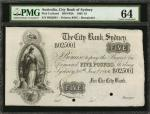 AUSTRALIA. City Bank of Sydney. 5 Pounds, 1866. P-Unlisted. Remainder. PMG Choice Uncirculated 64.