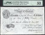 Bank of England, Basil Gage Catterns (1929-1934), £50, London, 20 June 1930, serial number 44/N 4638