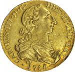 MEXICO. 8 Escudos, 1765/4-MoMF. Charles III (1759-88). NGC AU-53.