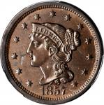 1857 Braided Hair Cent. N-1. Rarity-1. Large Date. MS-63 BN (PCGS).