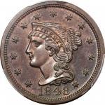 1848 Braided Hair Cent. N-19. Rarity-6. Proof-64 RB (PCGS). CAC.