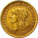 COLOMBIA. 1863 2 Pesos. Medellín mint. Restrepo 325.1. EF-45 (PCGS).