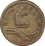 1786 New Jersey copper. Maris 24-Q. Rarity-7+. Narrow Shield, Curved Plow Beam. F-12 (PCGS).