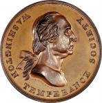 Circa 1847 House of Temperance medal. Musante GW-174, Baker-329. Copper. MS-63 BN (PCGS).