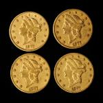 Lot of (4) 1877-CC Liberty Head Double Eagles. EF (Uncertified).