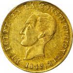 ECUADOR.1849/7-GJ 8 Escudos. Quito mint. KM-34.1. AU-58 (PCGS).