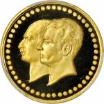 IRAN. Golden Jubilee of the National Bank of Iran Gold Medal, MS 2535 (1976). PCGS PROOF-68 DEEP CAM