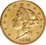 1864 Liberty Head Double Eagle. AU-50 (PCGS).