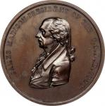 1809 James Madison Indian Peace Medal. Copper, Bronzed. Second Size. Second Reverse. Julian IP-6, Pr