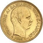 GRÈCE Georges Ier (1863-1913). 20 drachmes Or 1884, A, Paris.