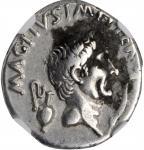 SEXTUS POMPEY. AR Denarius (3.87 gms), Uncertain mint in Sicily, 37/6 B.C. NGC Ch VF, Strike: 3/5 Su