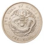 """光绪三十四年北洋造光绪元宝库平七钱二分银币一枚,平""""3""""高""""4""""版,极美品"""